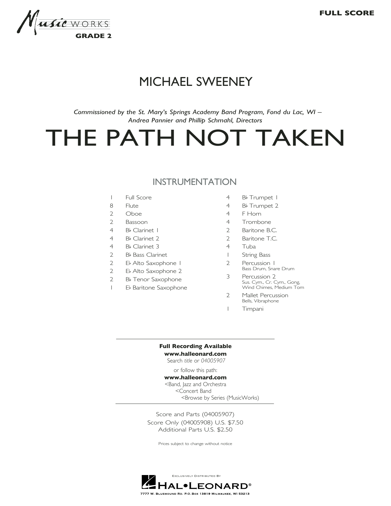 The Path Not Taken - Full Score (Concert Band)