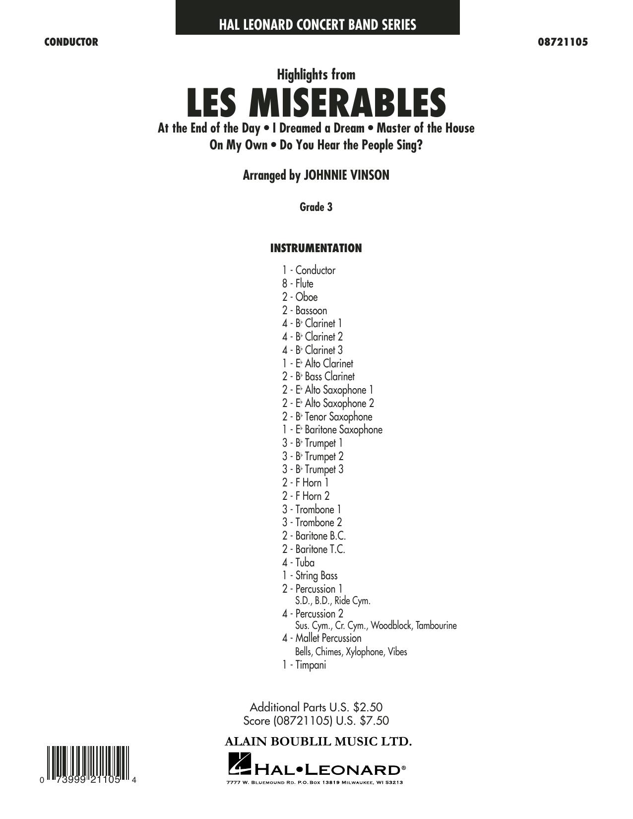 Highlights from Les Misérables (arr. Johnnie Vinson) - Conductor (Concert Band)