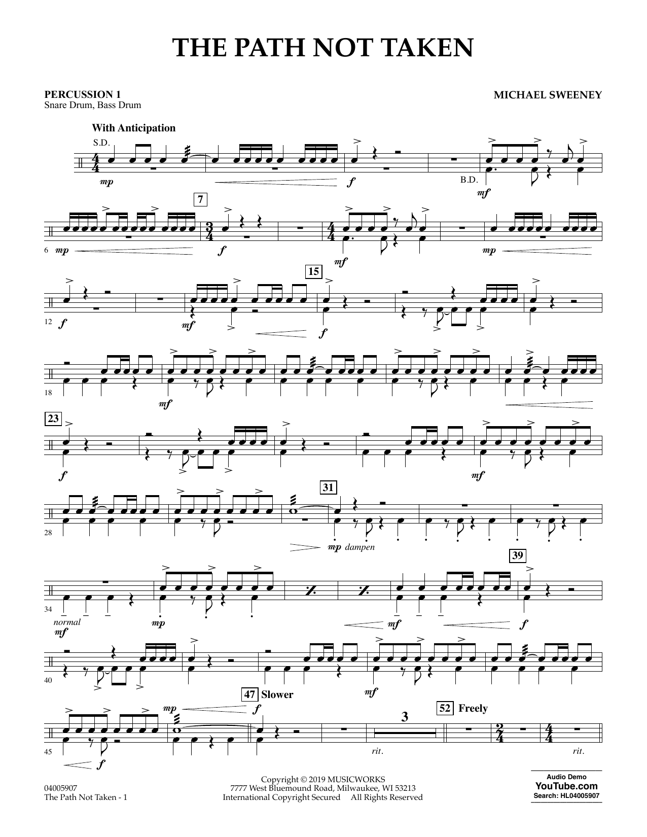 The Path Not Taken - Percussion 1 (Concert Band)