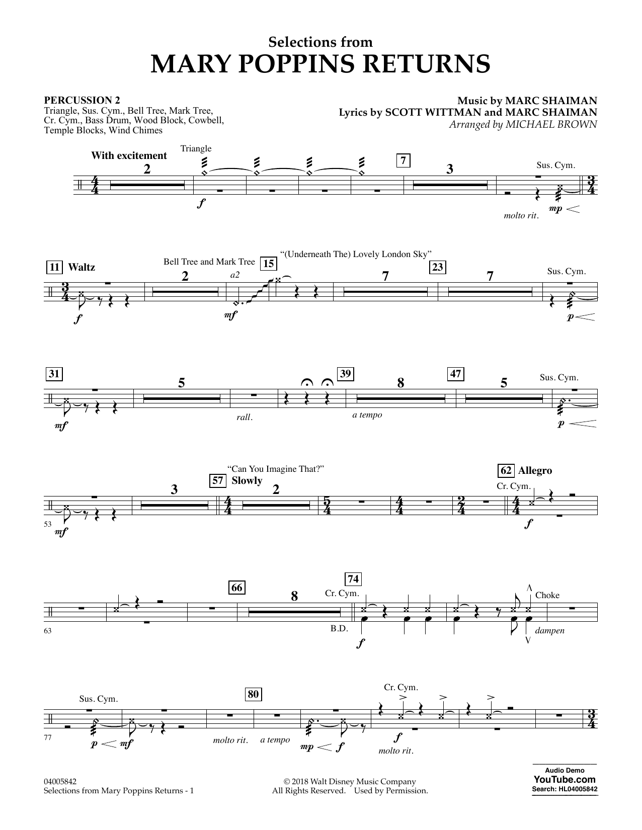 Selections from Mary Poppins Returns (arr. Michael Brown) - Percussion 2 (Concert Band)