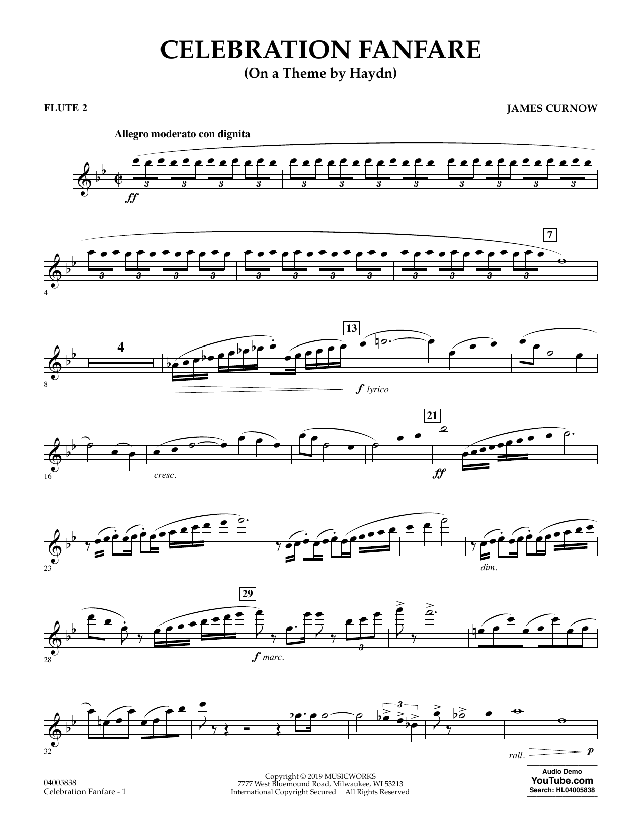Celebration Fanfare (On a Theme by Haydn) - Flute 2 (Concert Band)