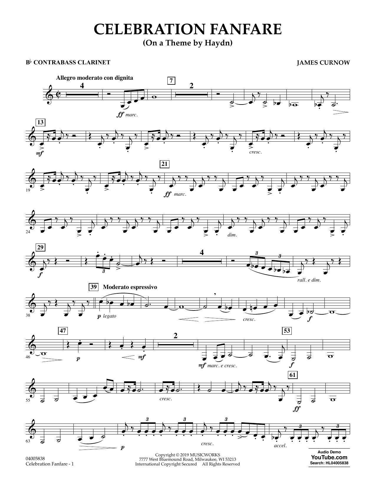 Celebration Fanfare (On a Theme by Haydn) - Bb Contra Bass Clarinet (Concert Band)