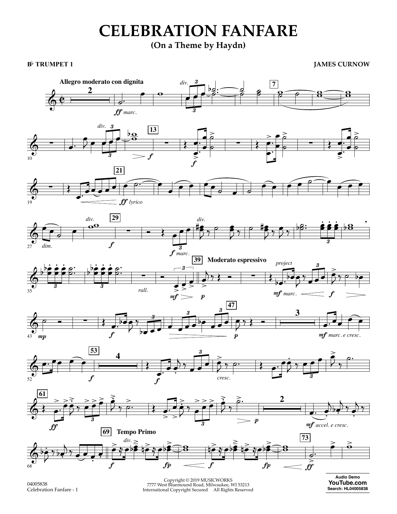 Celebration Fanfare (On a Theme by Haydn) - Bb Trumpet 1 (Concert Band)