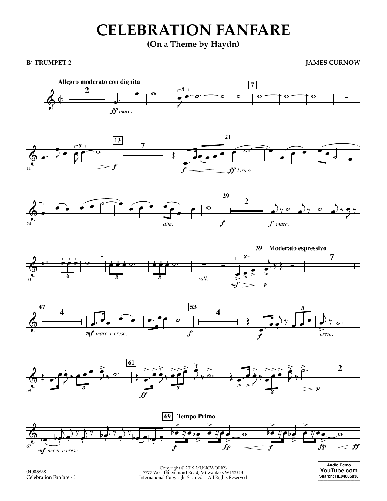 Celebration Fanfare (On a Theme by Haydn) - Bb Trumpet 2 (Concert Band)