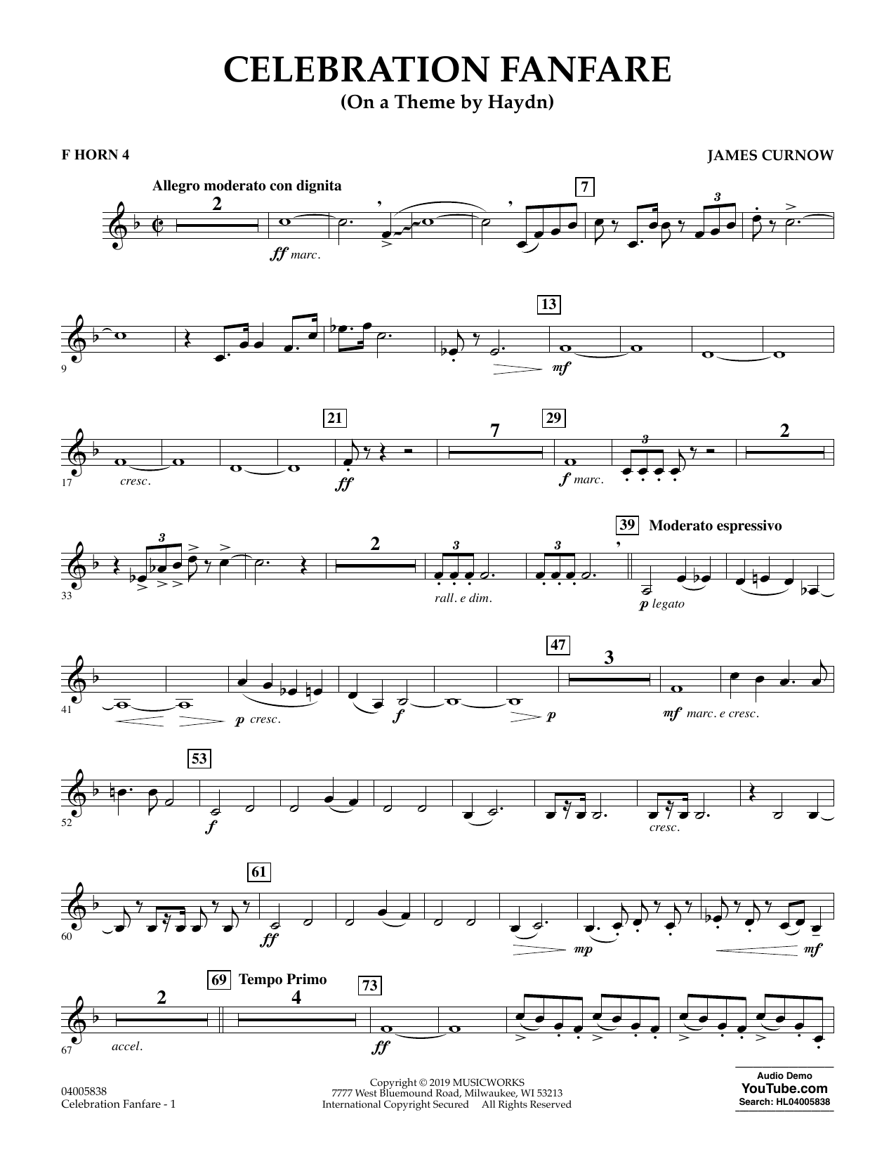 Celebration Fanfare (On a Theme by Haydn) - F Horn 4 (Concert Band)