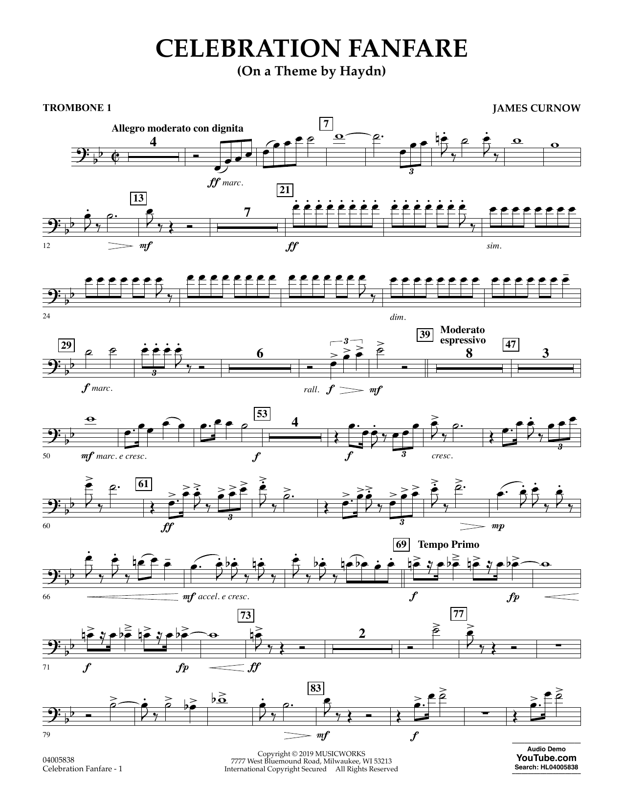 Celebration Fanfare (On a Theme by Haydn) - Trombone 1 (Concert Band)