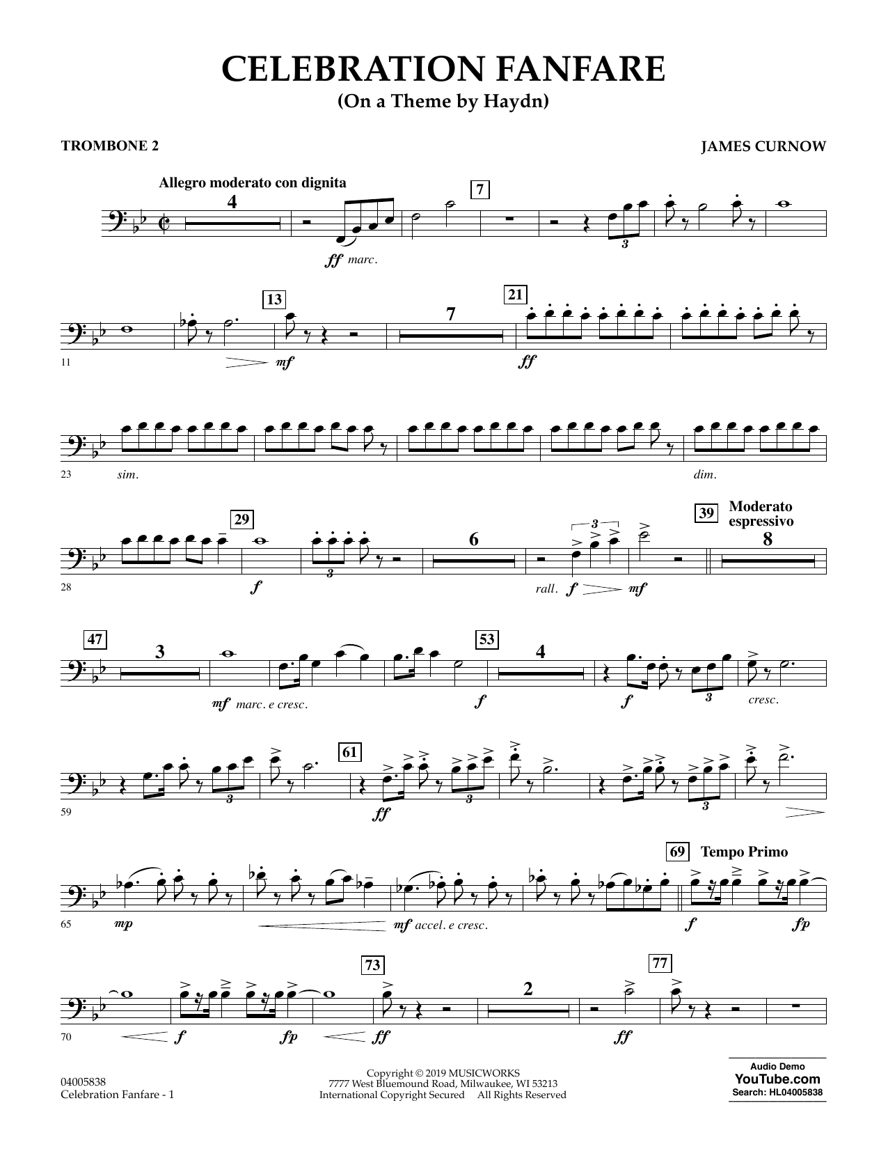 Celebration Fanfare (On a Theme by Haydn) - Trombone 2 (Concert Band)