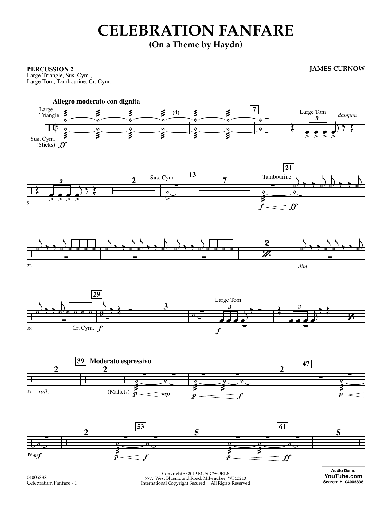 Celebration Fanfare (On a Theme by Haydn) - Percussion 2 (Concert Band)