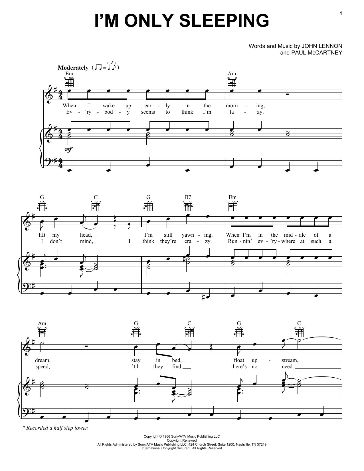 Partition piano I'm Only Sleeping de The Beatles - Piano Voix Guitare (Mélodie Main Droite)
