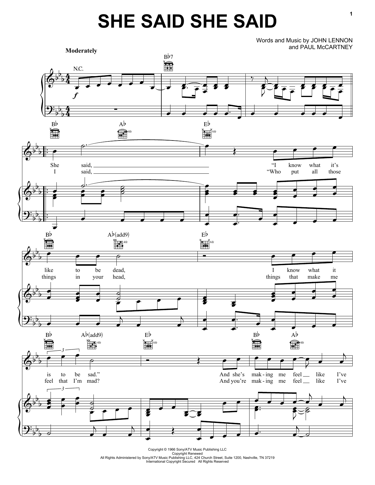 She Said She Said (Piano, Vocal & Guitar (Right-Hand Melody))