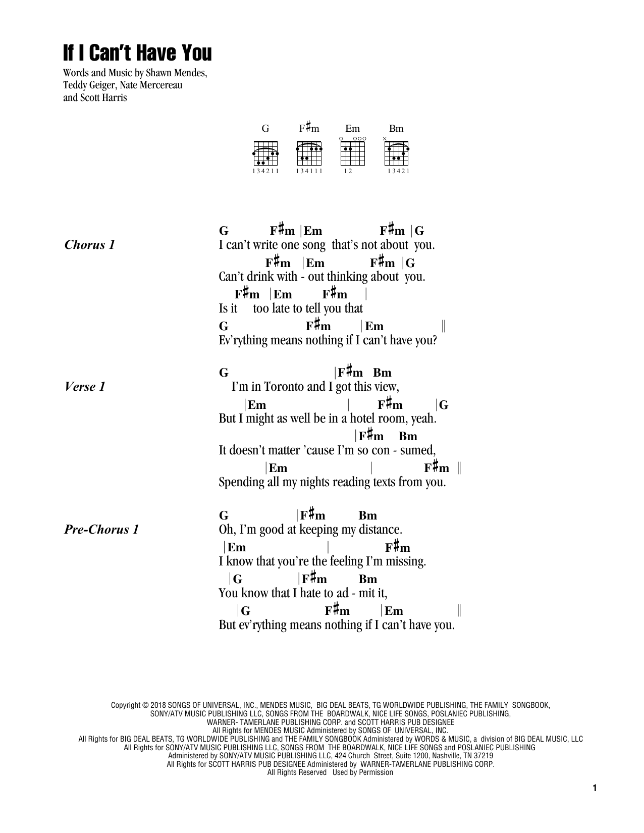 If I Can T Have You Sheet Music Shawn Mendes Guitar Chords Lyrics