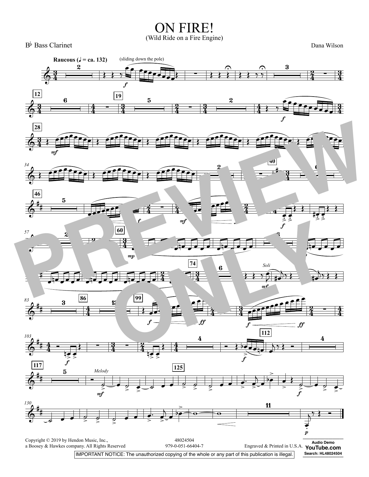 On Fire! (Wild Ride on a Fire Engine) - Bb Bass Clarinet (Concert Band)