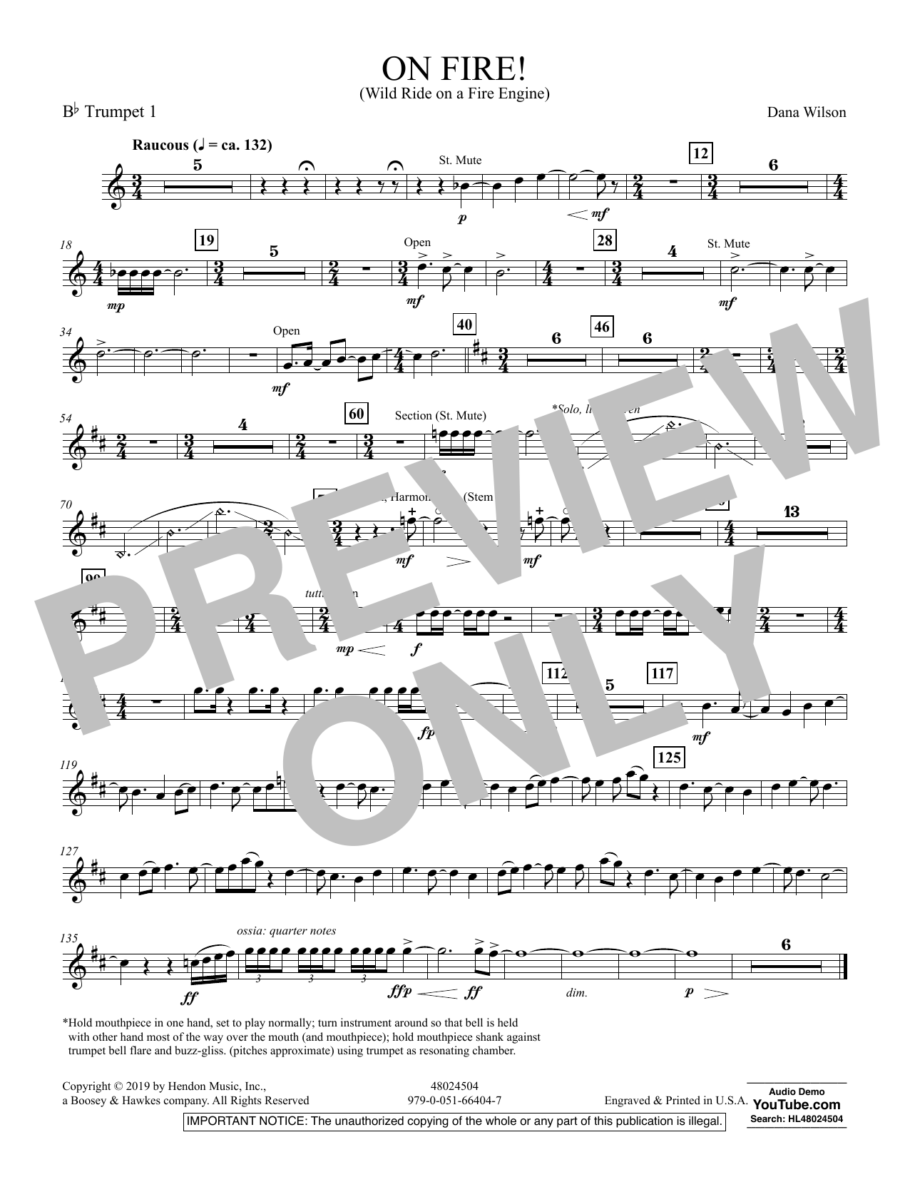 On Fire! (Wild Ride on a Fire Engine) - Bb Trumpet 1 (Concert Band)