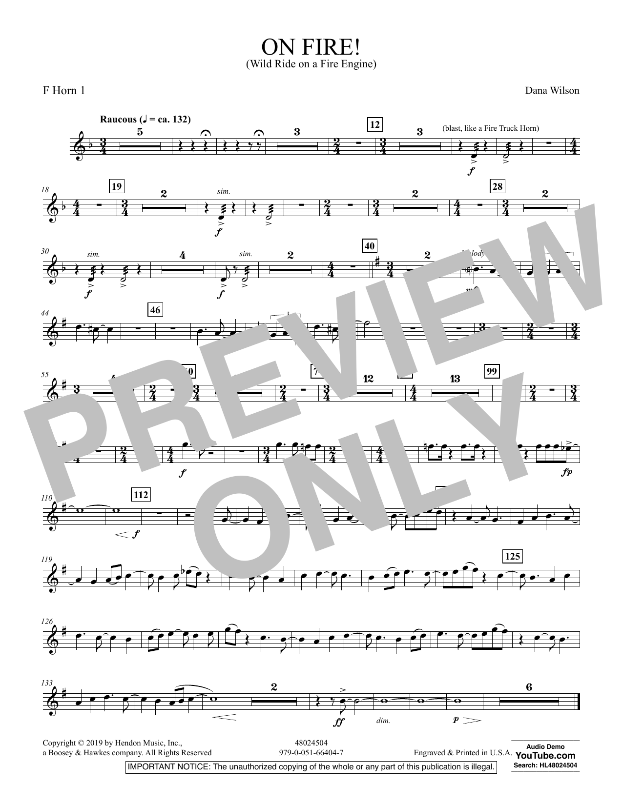 On Fire! (Wild Ride on a Fire Engine) - F Horn 1 (Concert Band)
