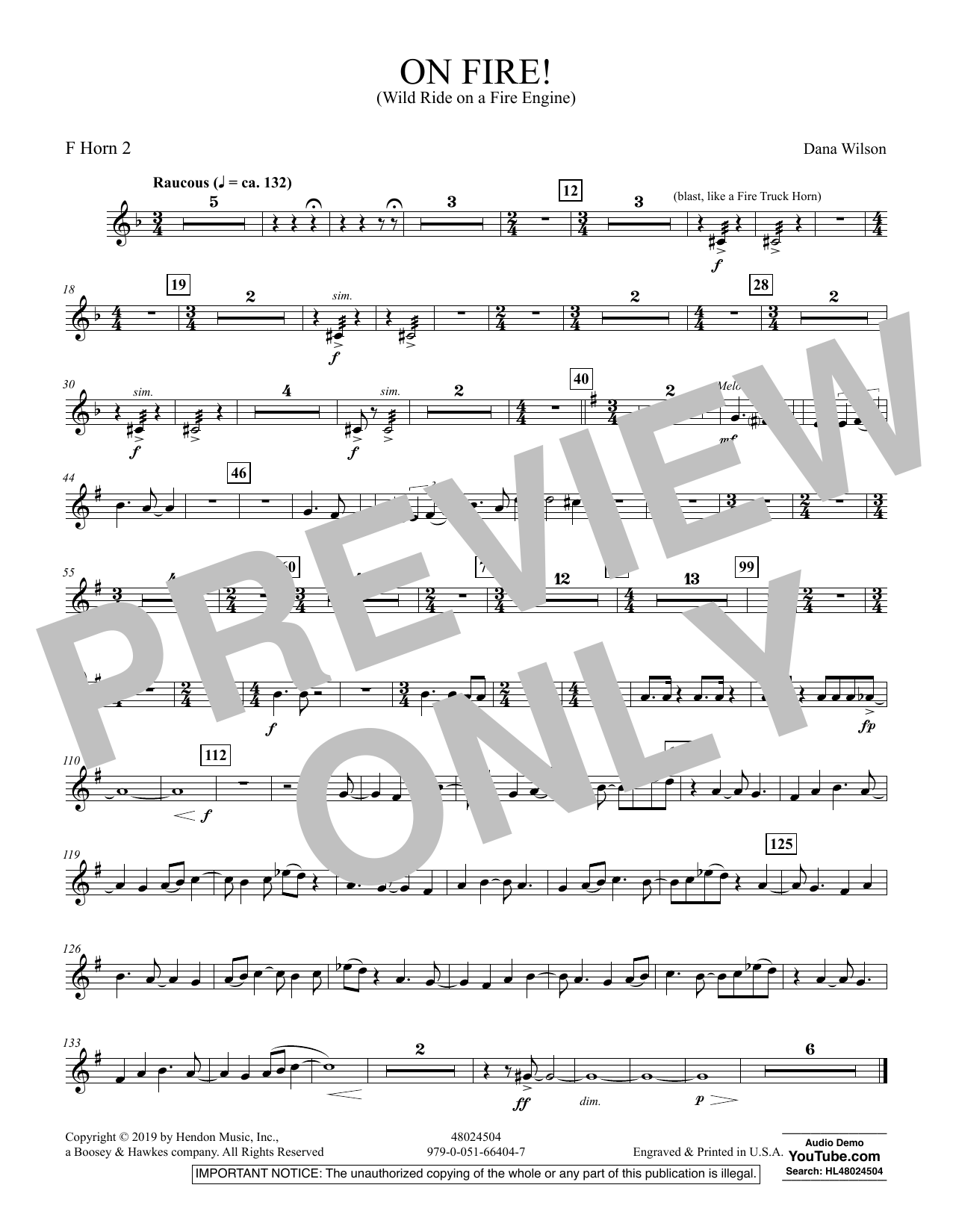 On Fire! (Wild Ride on a Fire Engine) - F Horn 2 (Concert Band)