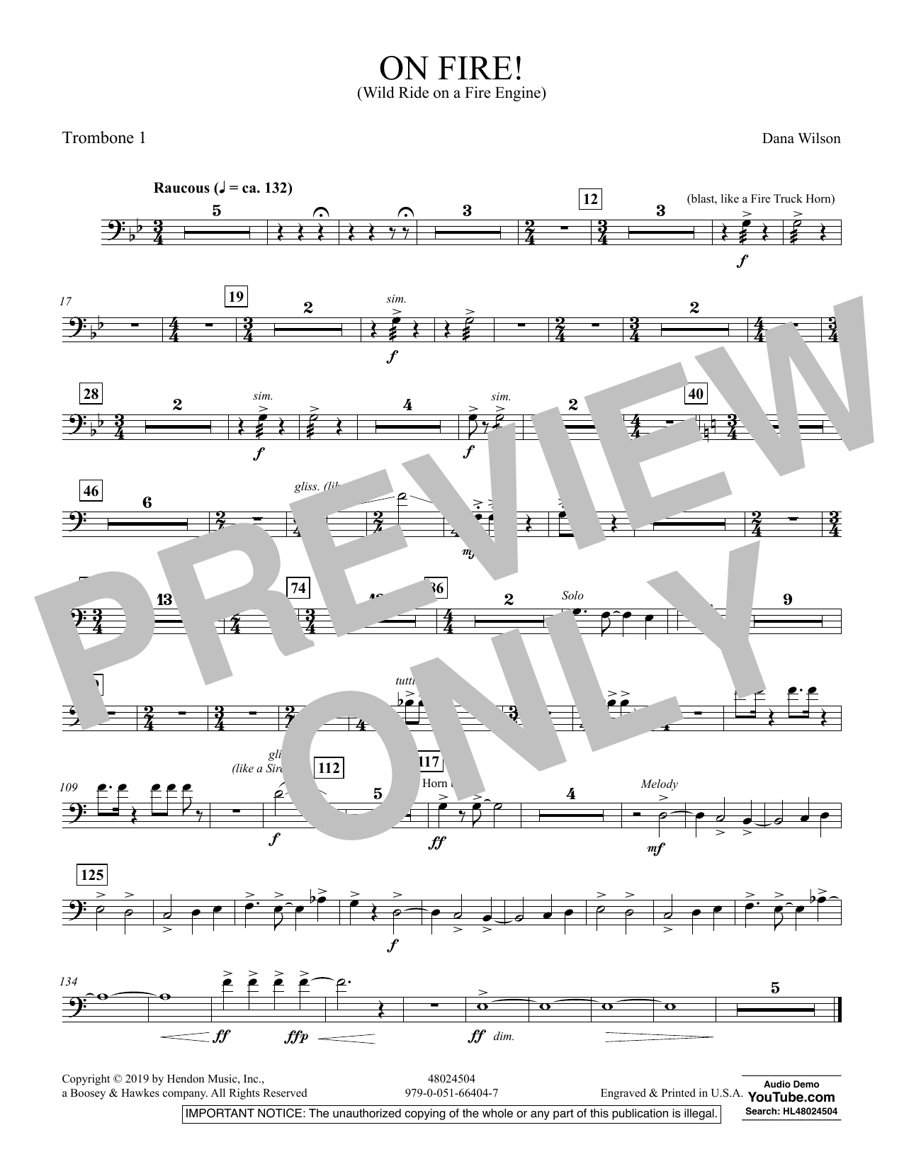 On Fire! (Wild Ride on a Fire Engine) - Trombone 1 (Concert Band)