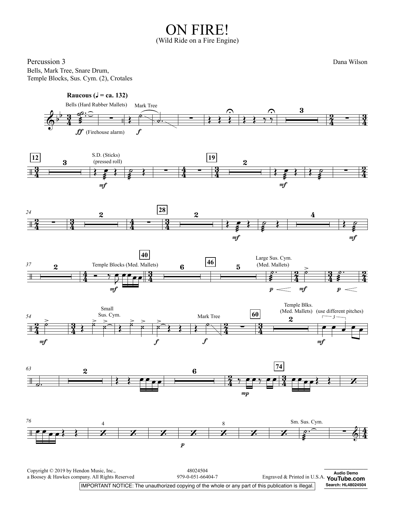 On Fire! (Wild Ride on a Fire Engine) - Percussion 3 (Concert Band)