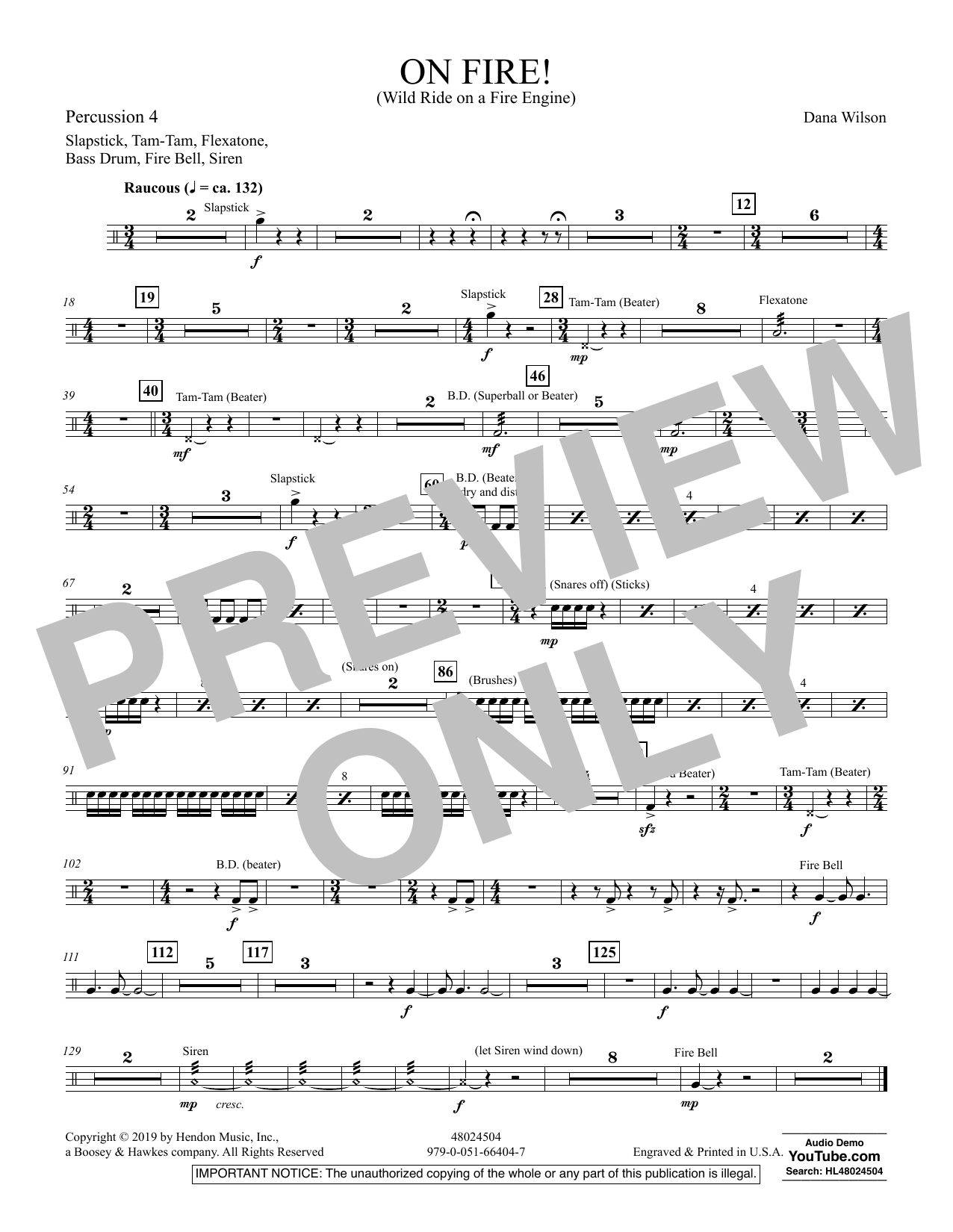 On Fire! (Wild Ride on a Fire Engine) - Percussion 4 (Concert Band)