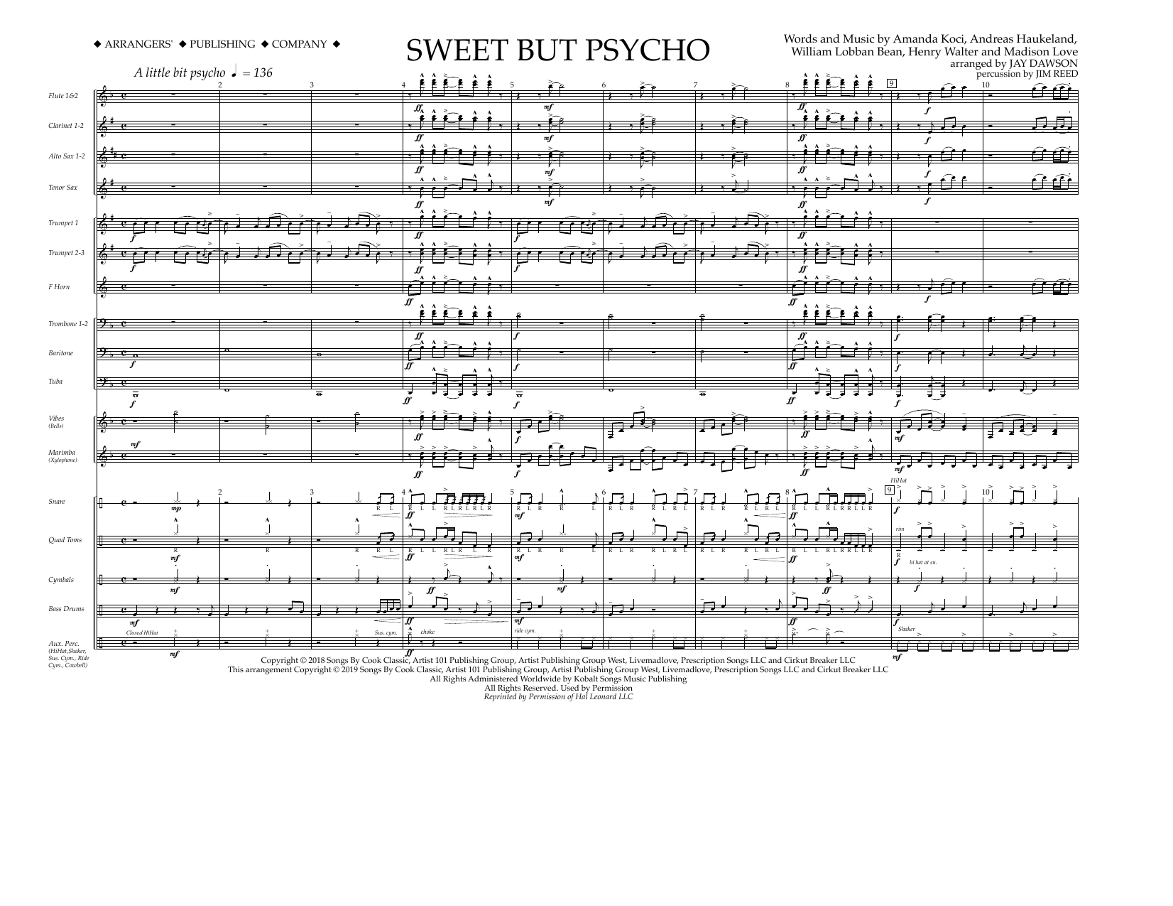 Sweet But Psycho (arr  Jay Dawson) - Band Music Download