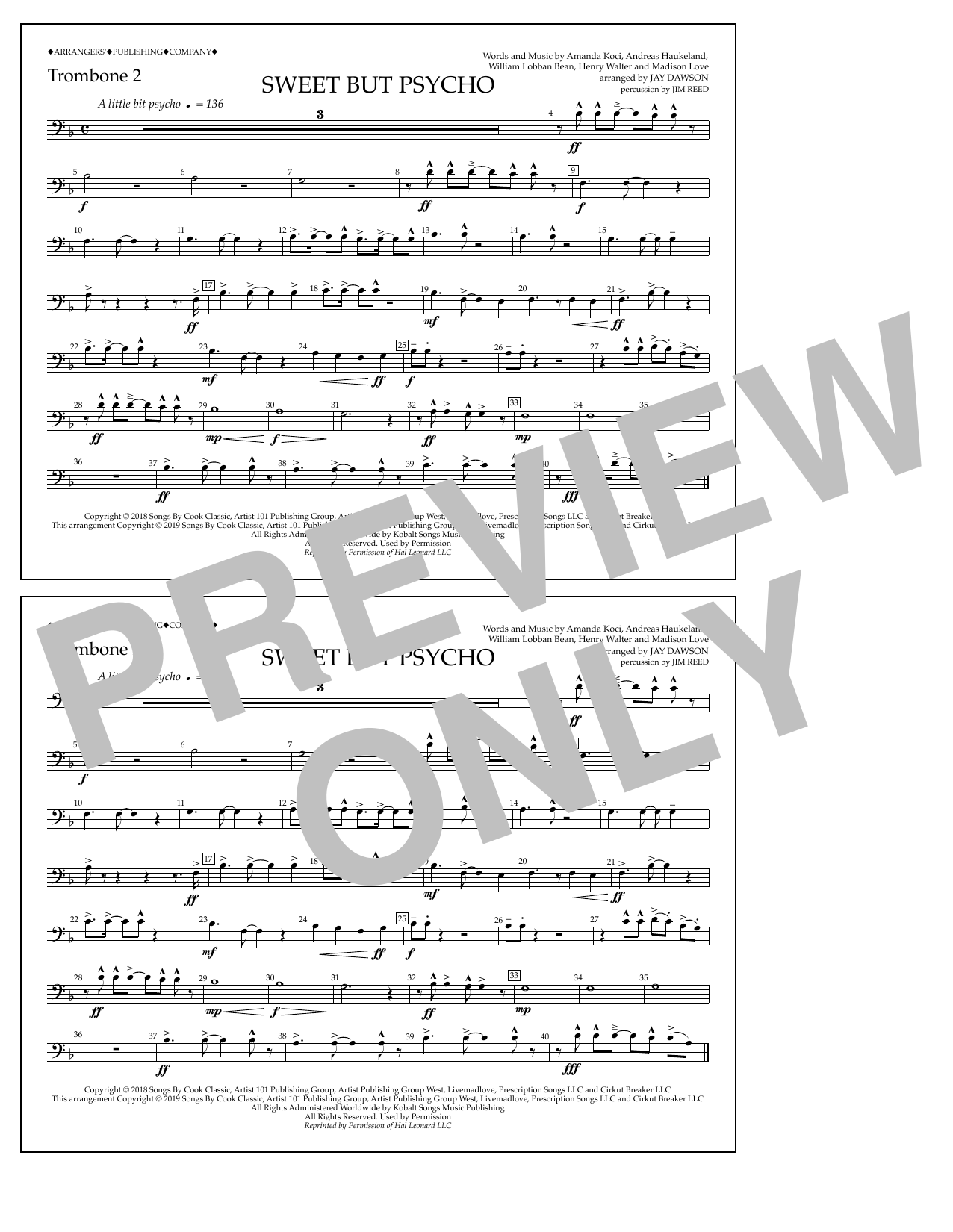 Sweet But Psycho (arr  Jay Dawson) - Trombone 2 by Ava Max Marching Band  Digital Sheet Music