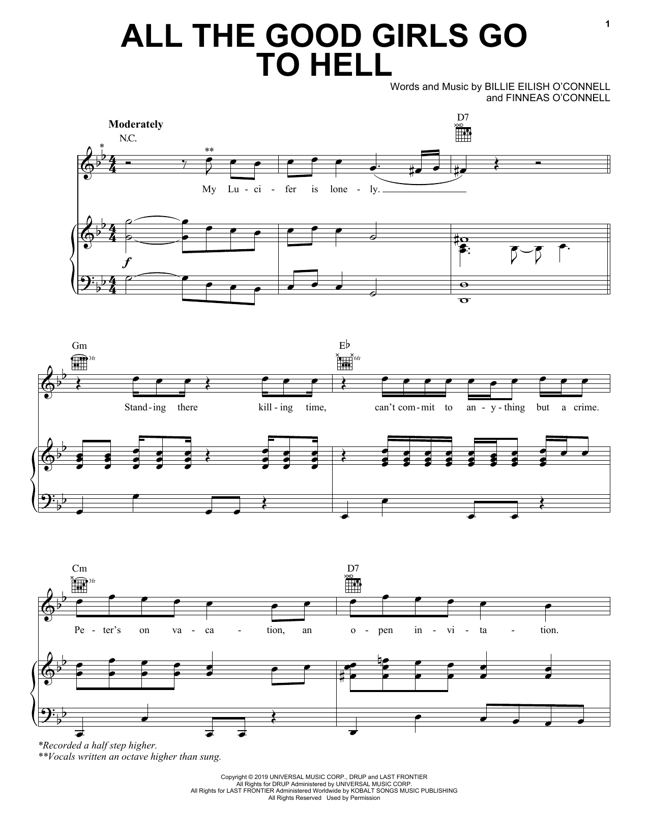 all the good girls go to hell (Piano, Vocal & Guitar (Right-Hand Melody))