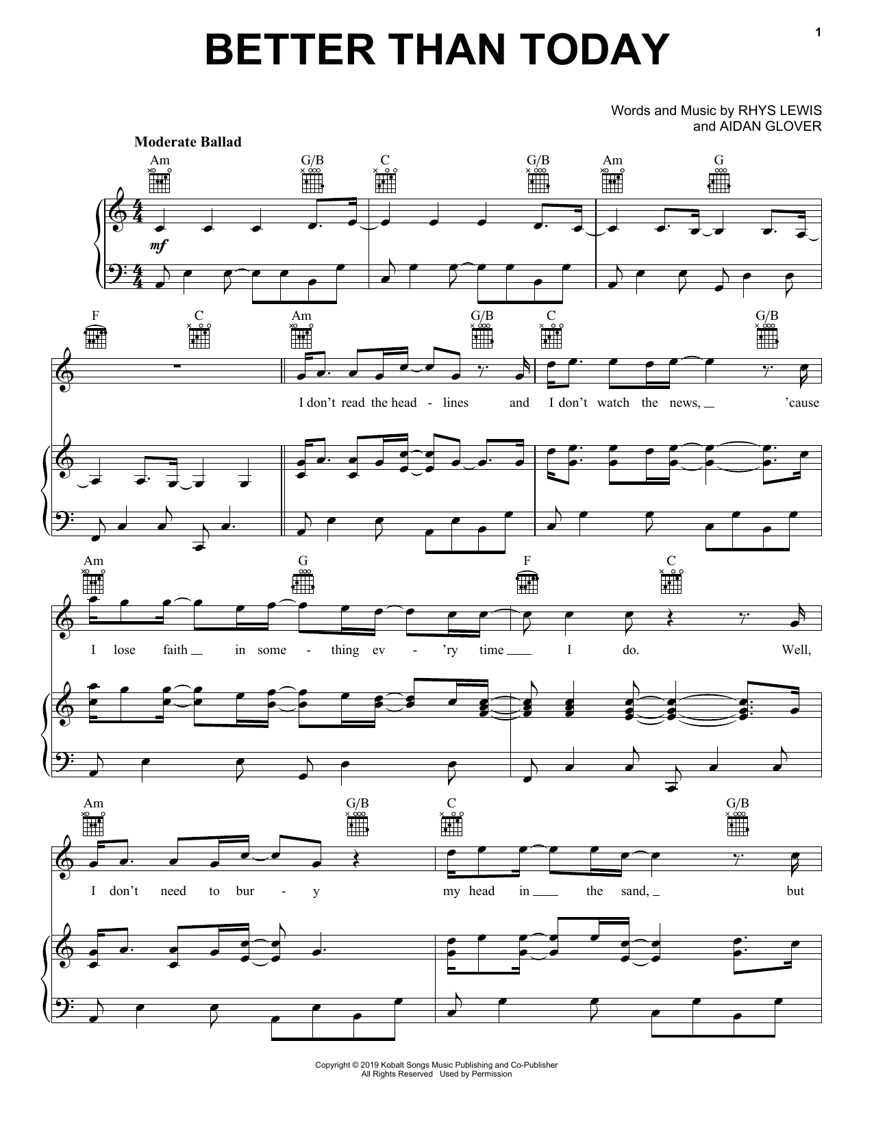 Better Than Today (Piano, Vocal & Guitar (Right-Hand Melody))