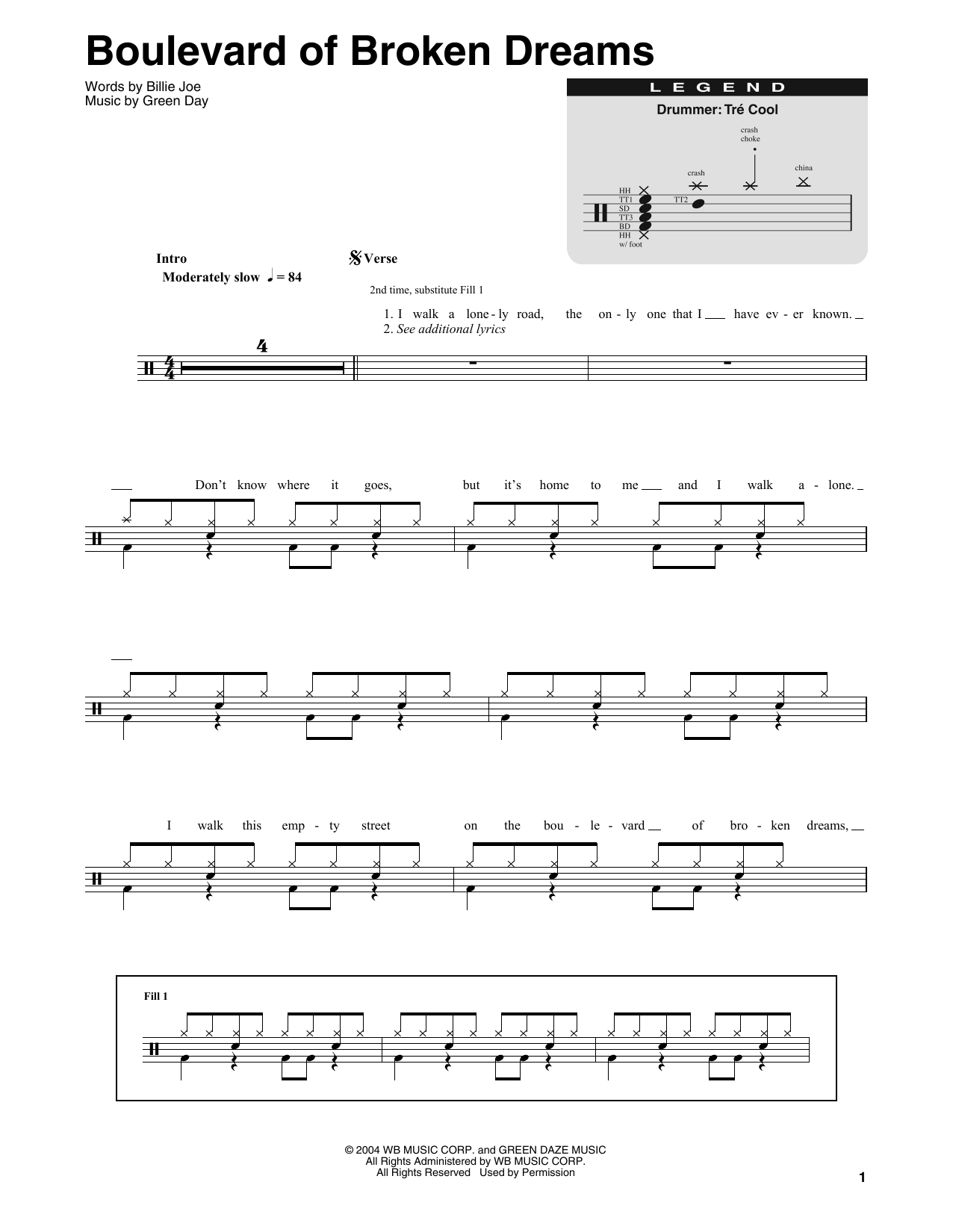 Boulevard Of Broken Dreams Sheet Music Green Day Drums Transcription