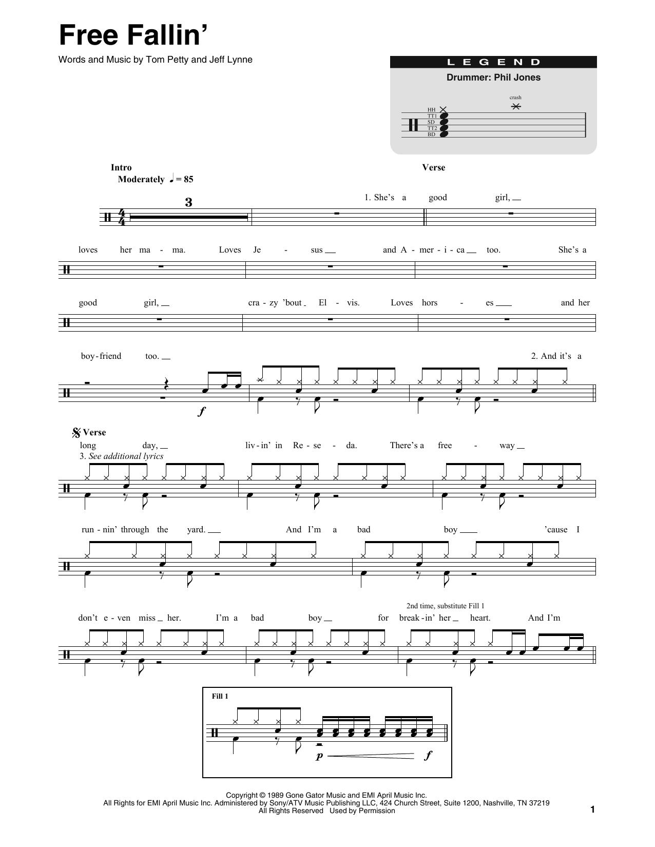Free Fallin' (Drums Transcription)