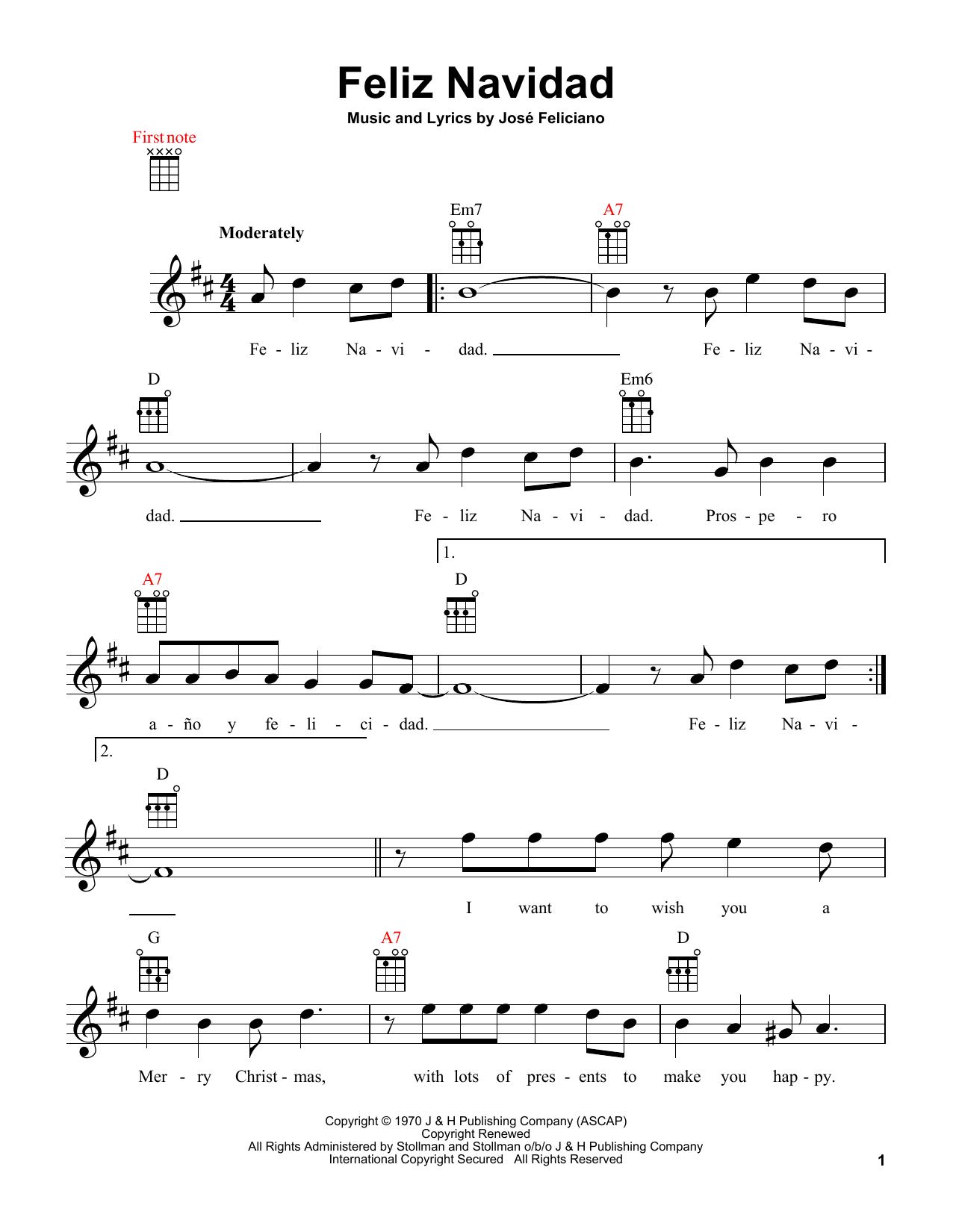 feliz navidad ukulele print sheet music now feliz navidad ukulele print sheet music now