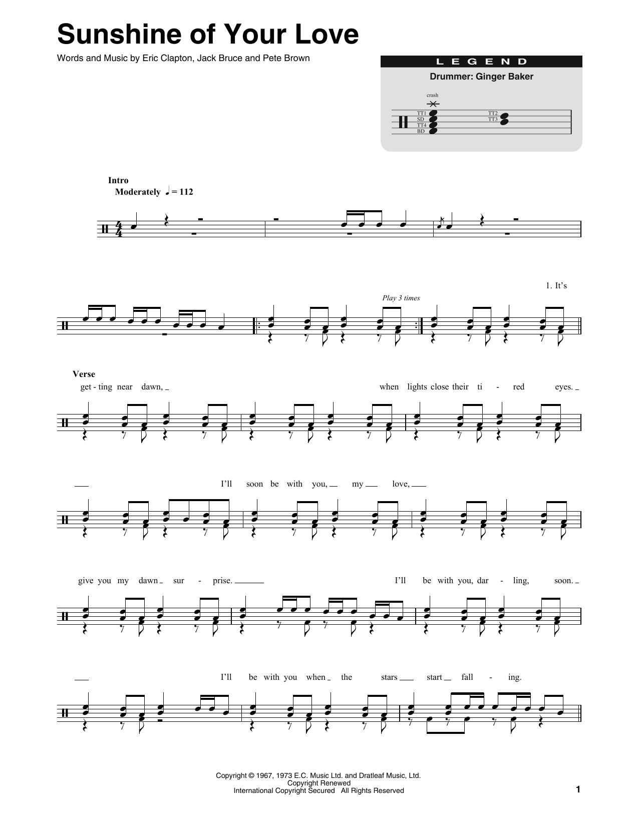 Sunshine Of Your Love (Drums Transcription)