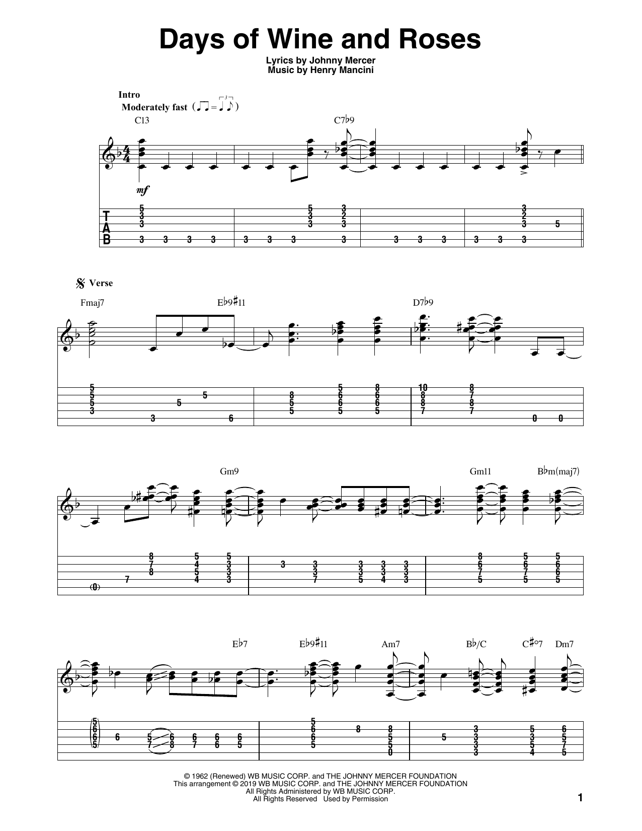 Days Of Wine And Roses (Solo Guitar Tab)