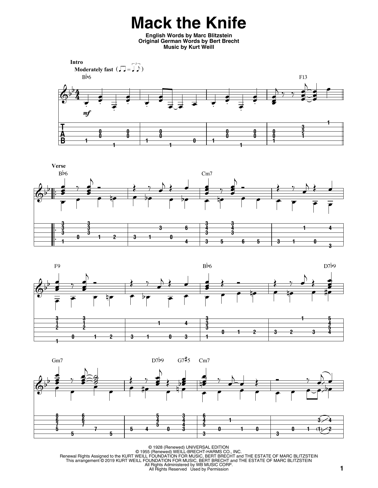 Mack The Knife (arr. Bill LaFleur) (Solo Guitar Tab)