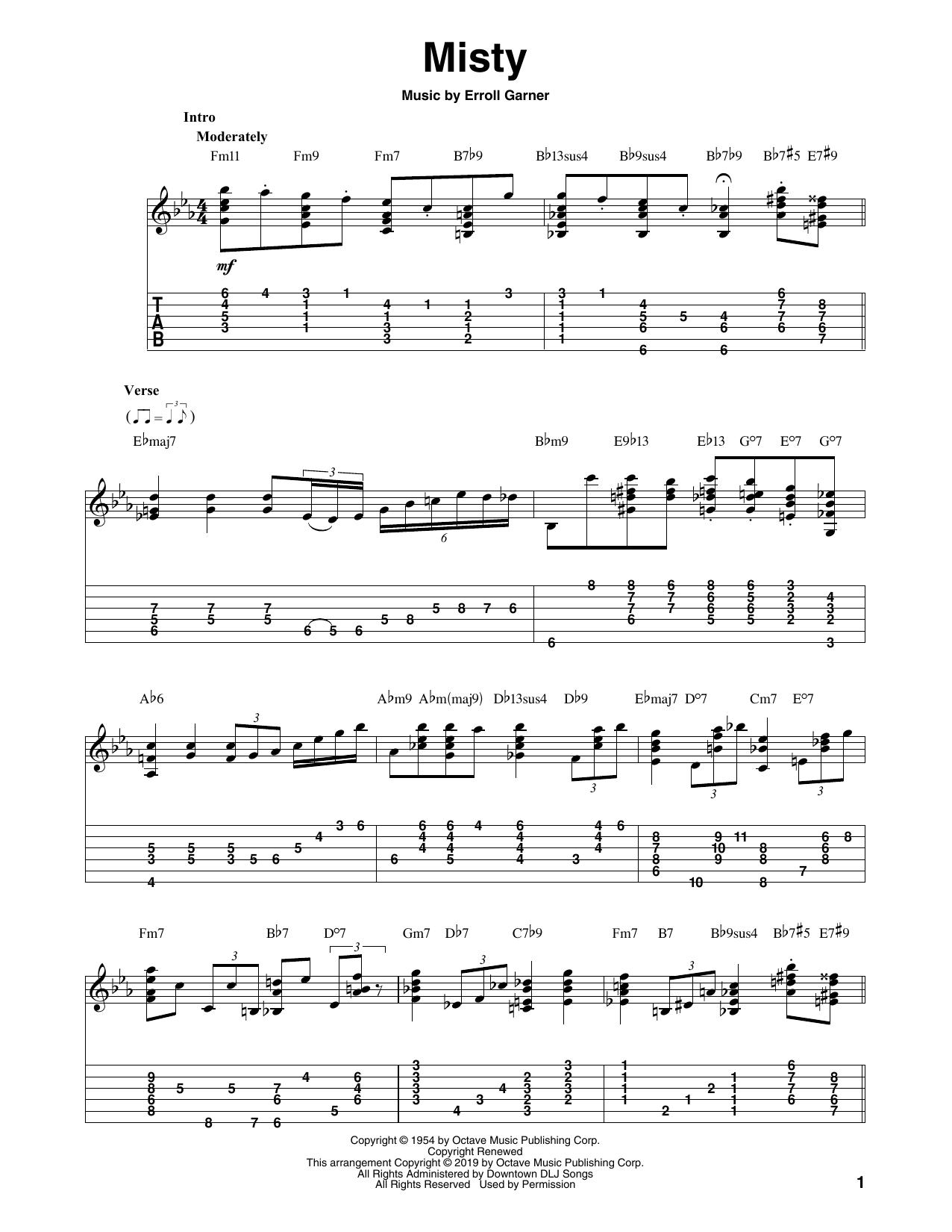 Misty (arr. Bill LaFleur) (Solo Guitar Tab)
