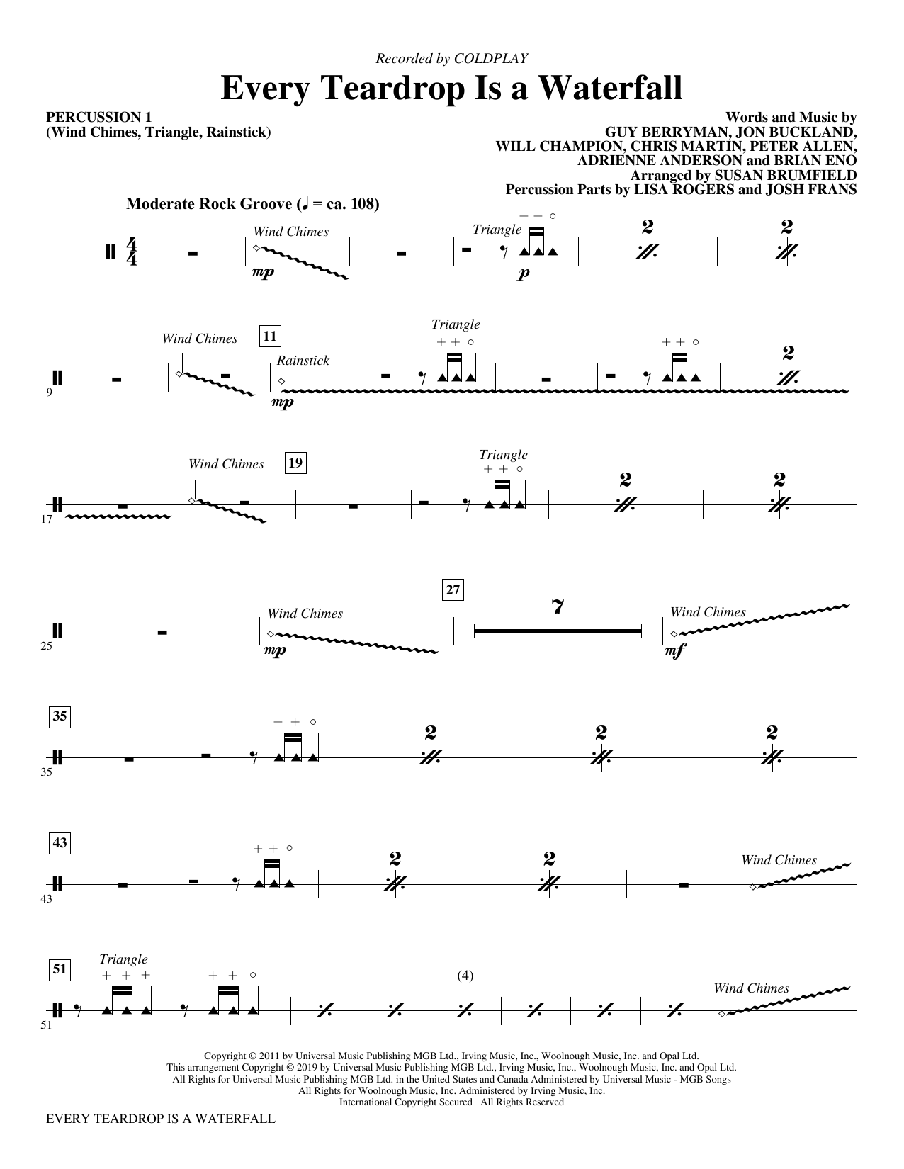 Every Teardrop Is a Waterfall (arr. Susan Brumfield) - Percussion 1 Partition Digitale