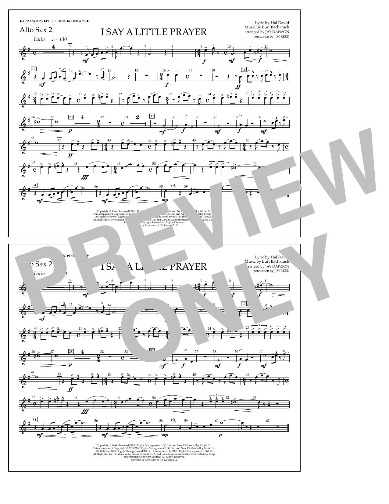 I Say a Little Prayer (arr. Jay Dawson) - Alto Sax 2 (Marching Band)