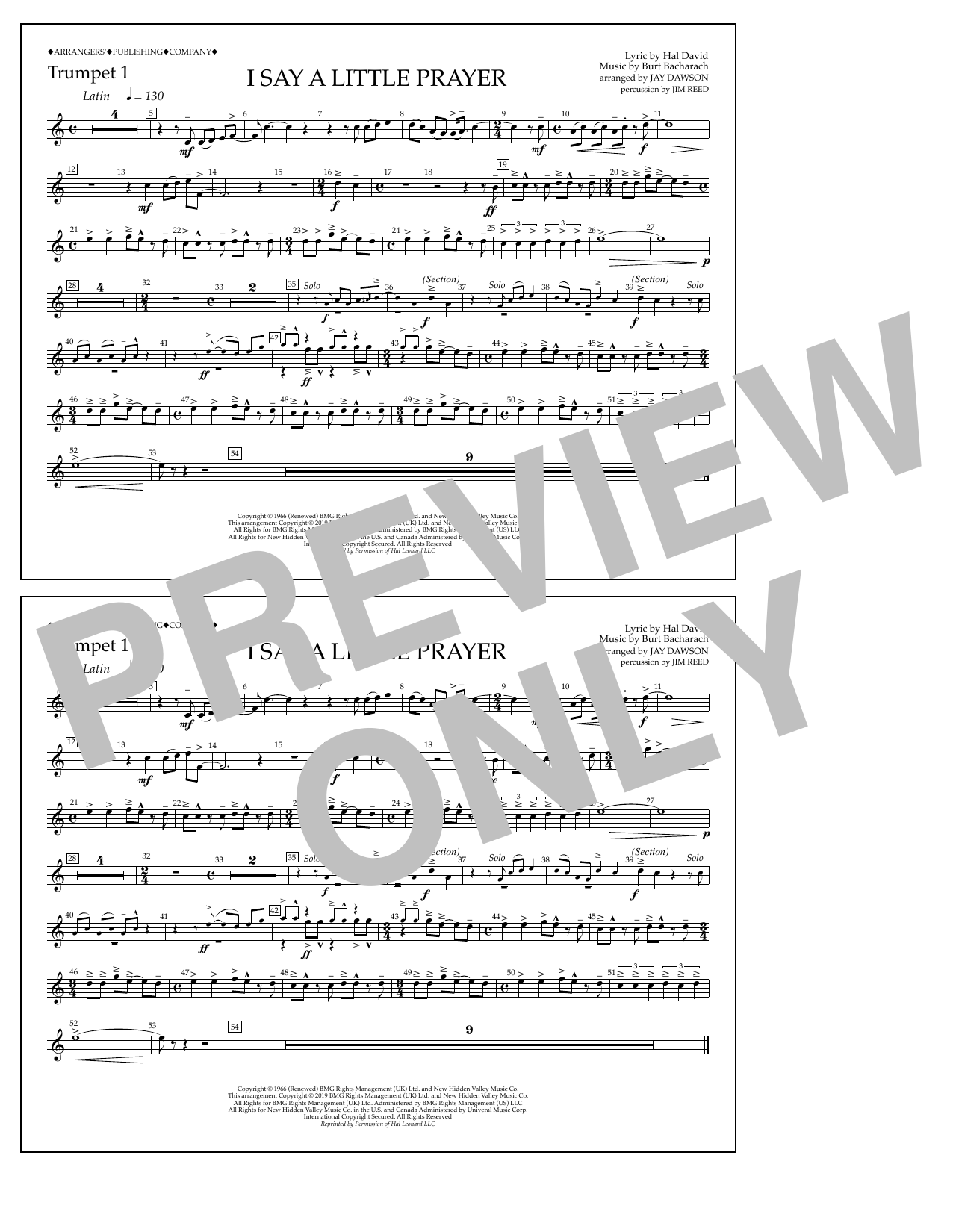 I Say a Little Prayer (arr. Jay Dawson) - Trumpet 1 (Marching Band)