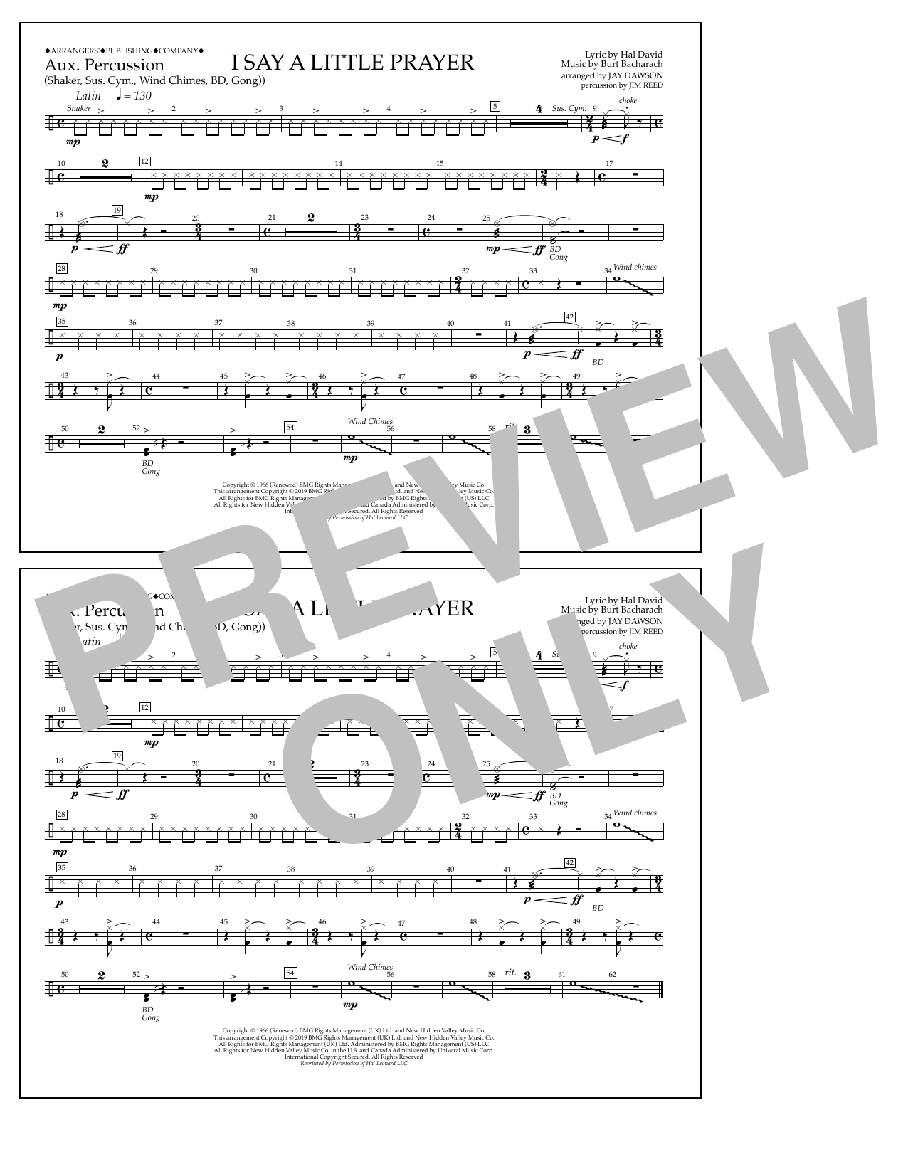 I Say a Little Prayer (arr. Jay Dawson) - Aux. Percussion (Marching Band)