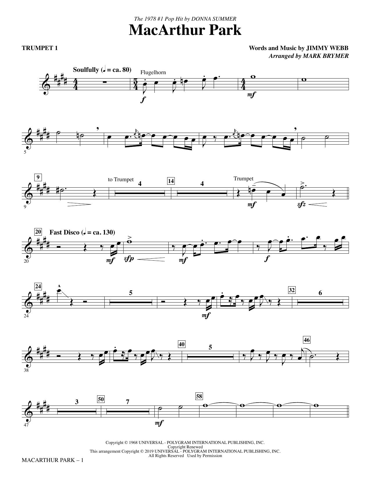 MacArthur Park (arr  Mark Brymer) - Trumpet 1 by Donna Summer Choir  Instrumental Pak Digital Sheet Music