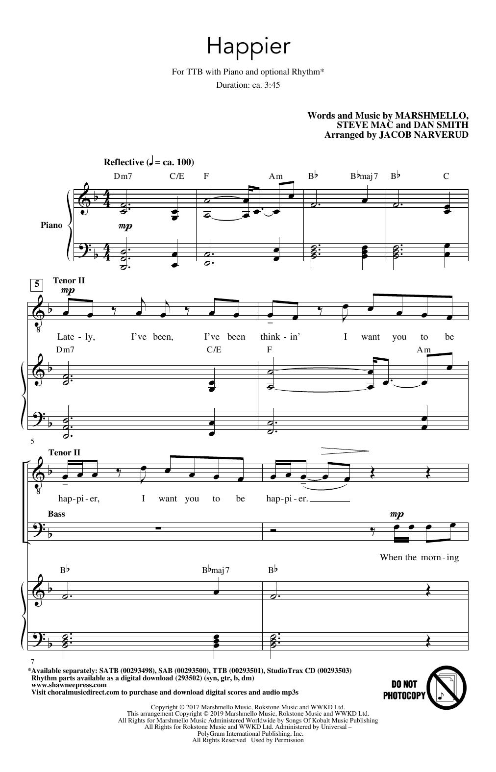 Happier (arr. Jacob Narverud) (TTBB Choir)