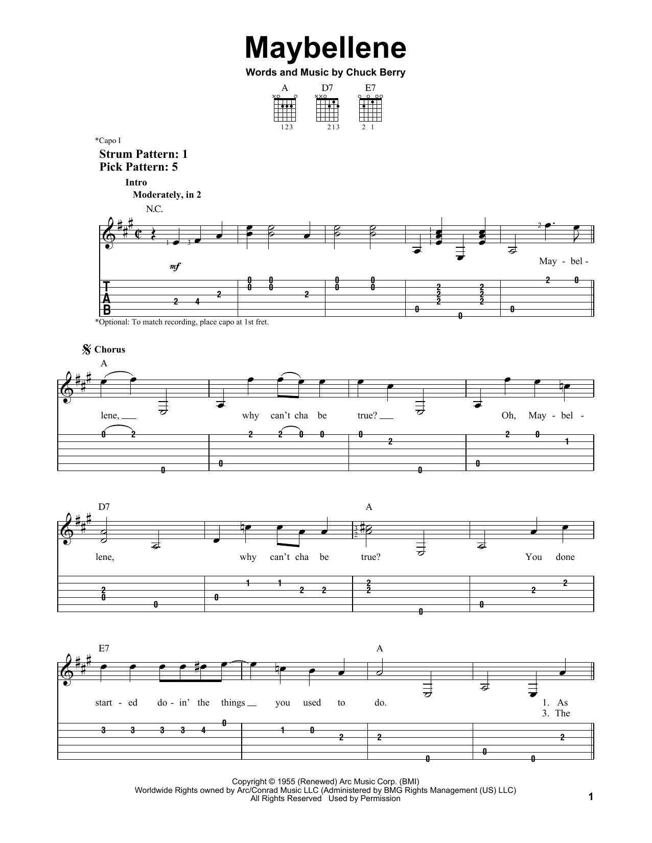 Maybellene (Easy Guitar Tab)