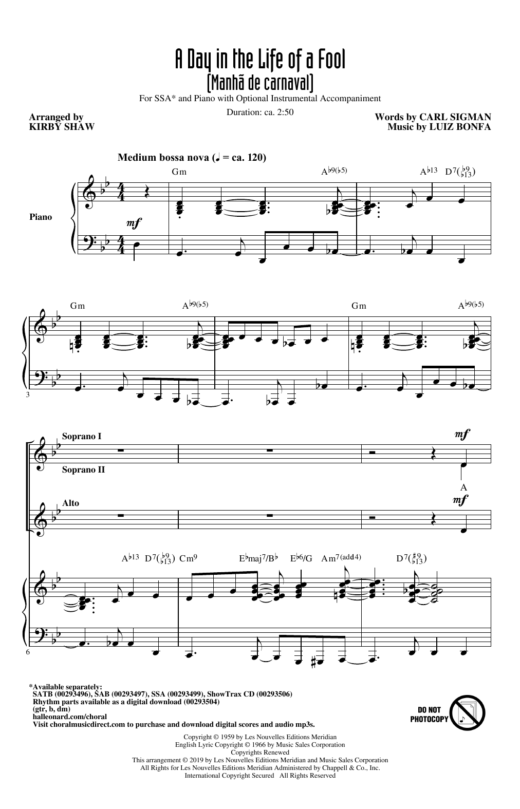 A Day In The Life Of A Fool (Manha De Carnaval) (arr. Kirby Shaw) (SSA Choir)