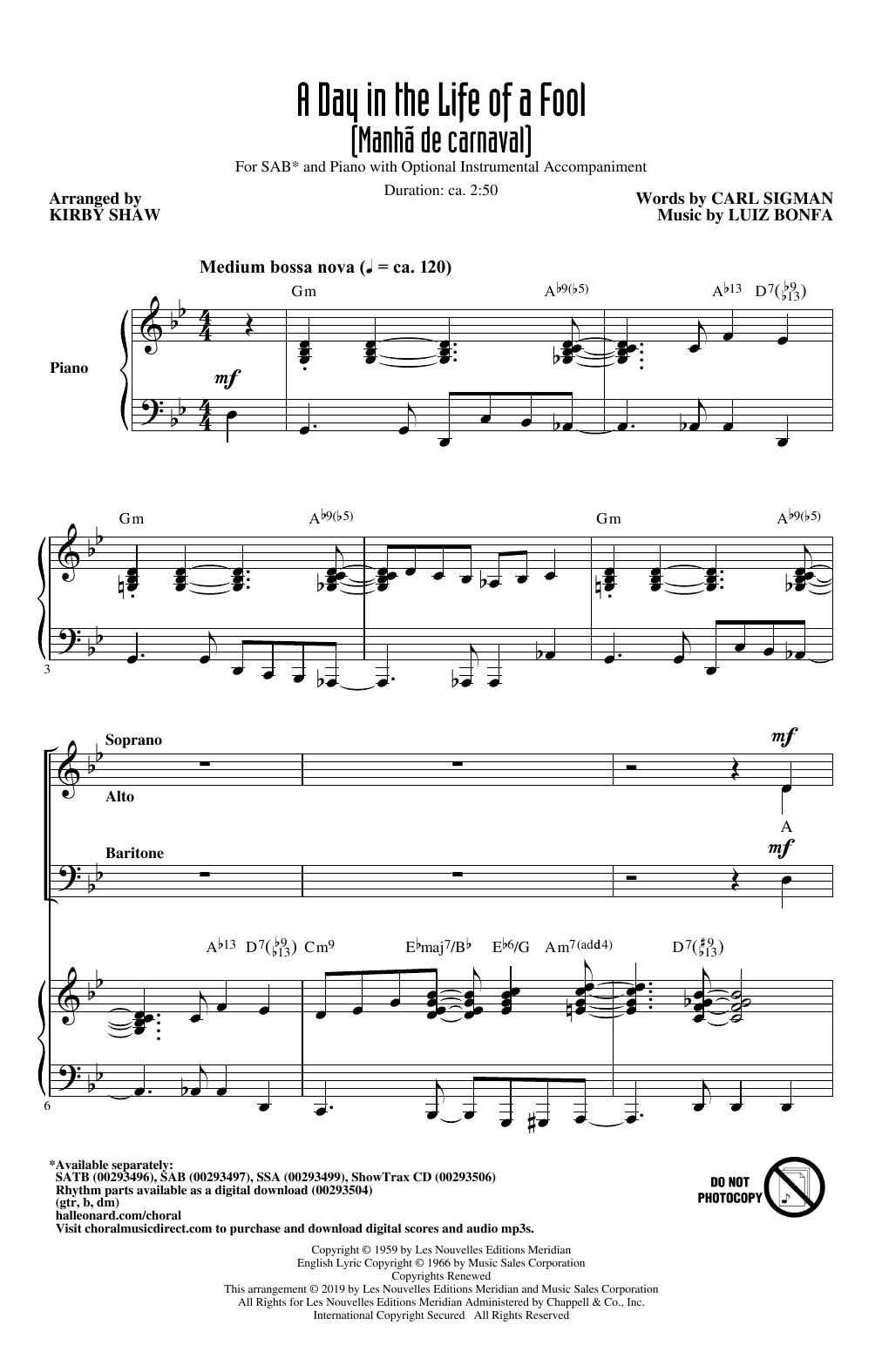 A Day In The Life Of A Fool (Manha De Carnaval) (arr. Kirby Shaw) (SAB Choir)