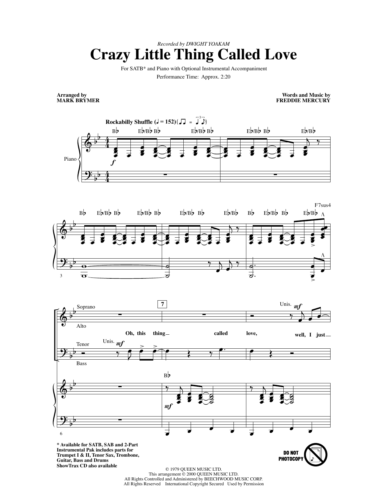 Crazy Little Thing Called Love (arr. Mark Brymer) (SATB Choir)