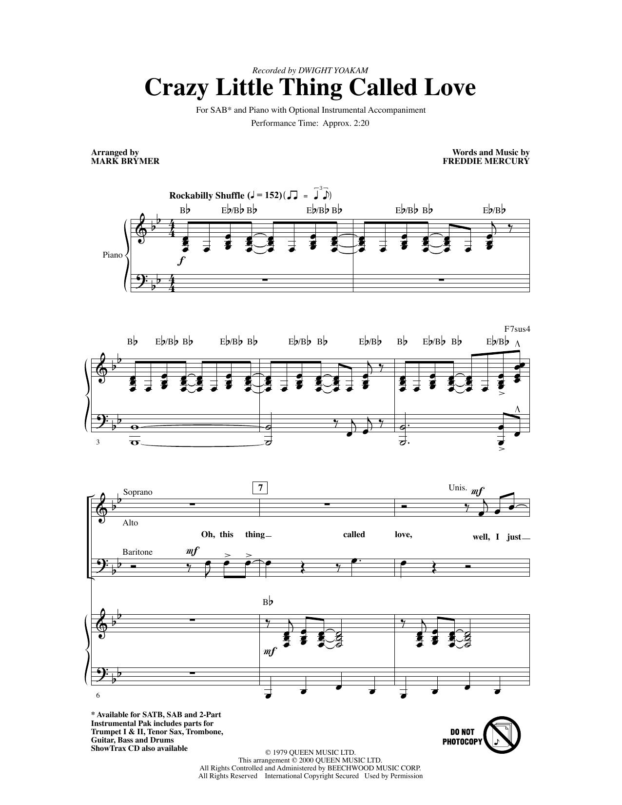 Crazy Little Thing Called Love (arr. Mark Brymer) (SAB Choir)