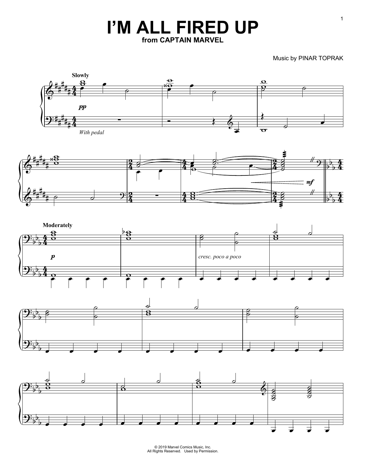 I'm All Fired Up (from Captain Marvel) (Piano Solo)
