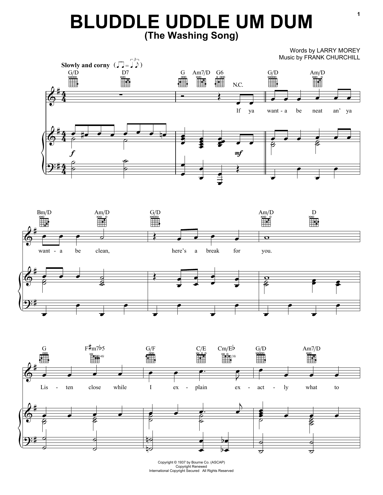 Bluddle Uddle Um Dum (The Washing Song) (from Walt Disney's Snow White and the Seven Dwarfs) (Piano, Vocal & Guitar (Right-Hand Melody))