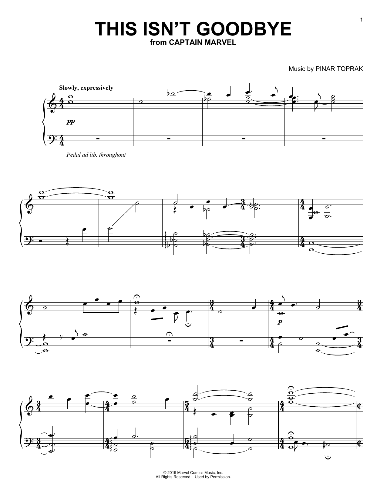 This Isn't Goodbye (from Captain Marvel) (Piano Solo)