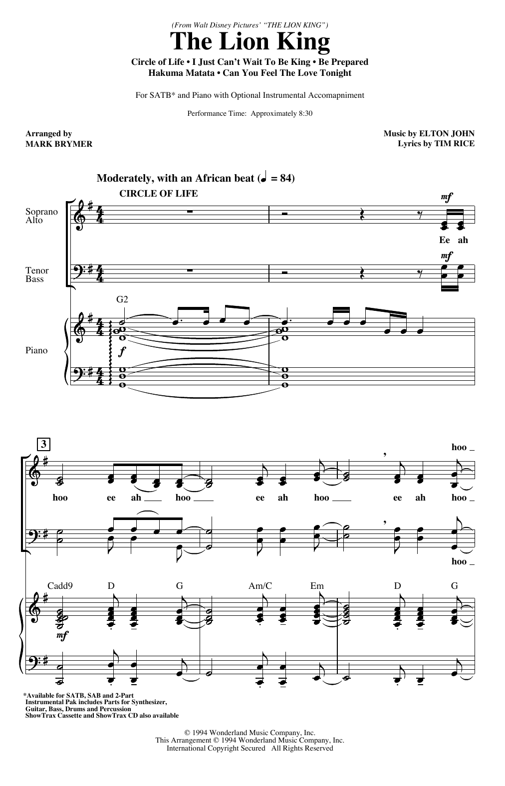 The Lion King (Medley) (arr. Mark Brymer) Sheet Music