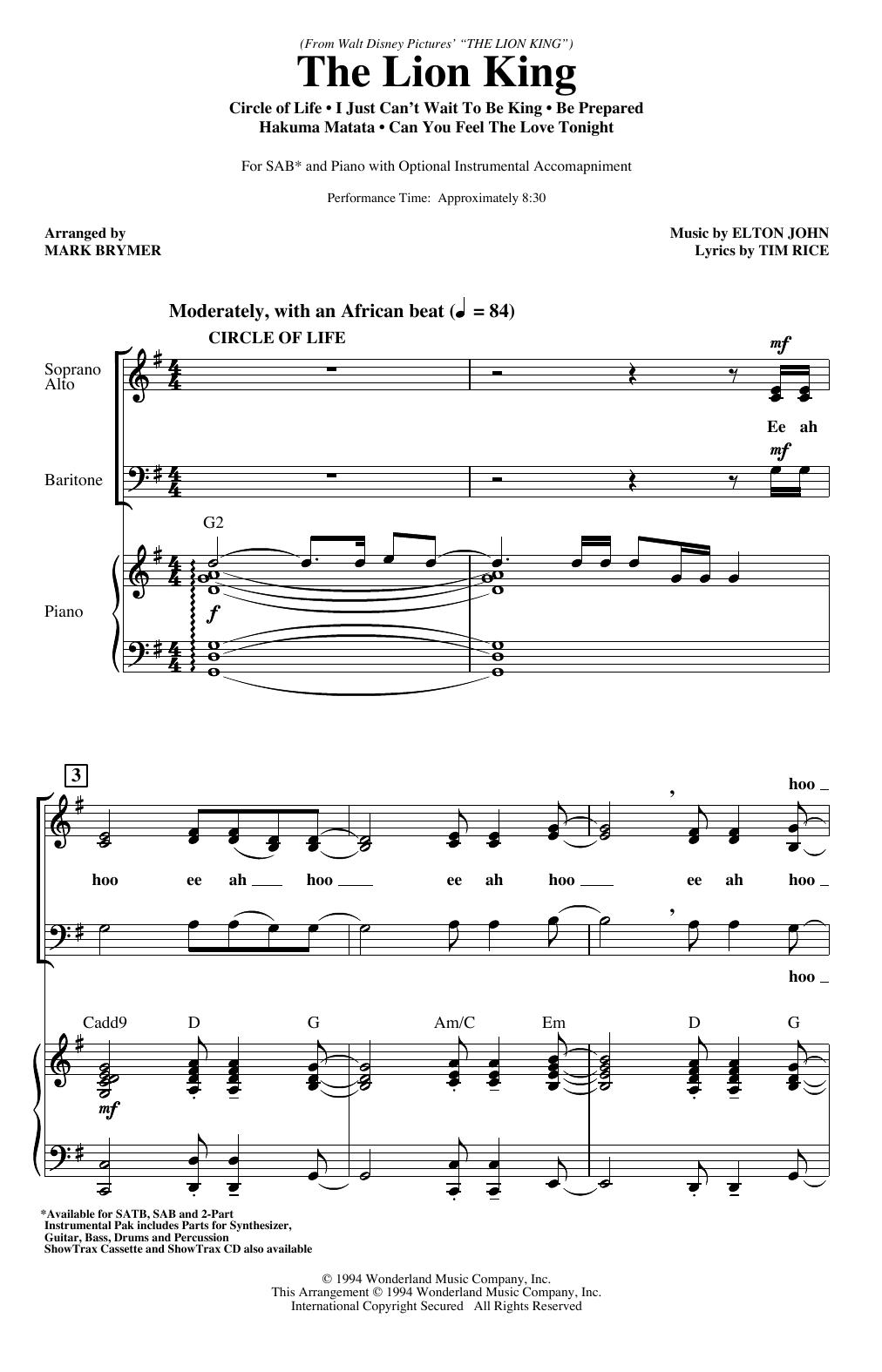 The Lion King (Medley) (arr  Mark Brymer) by Elton John 2-Part Choir  Digital Sheet Music