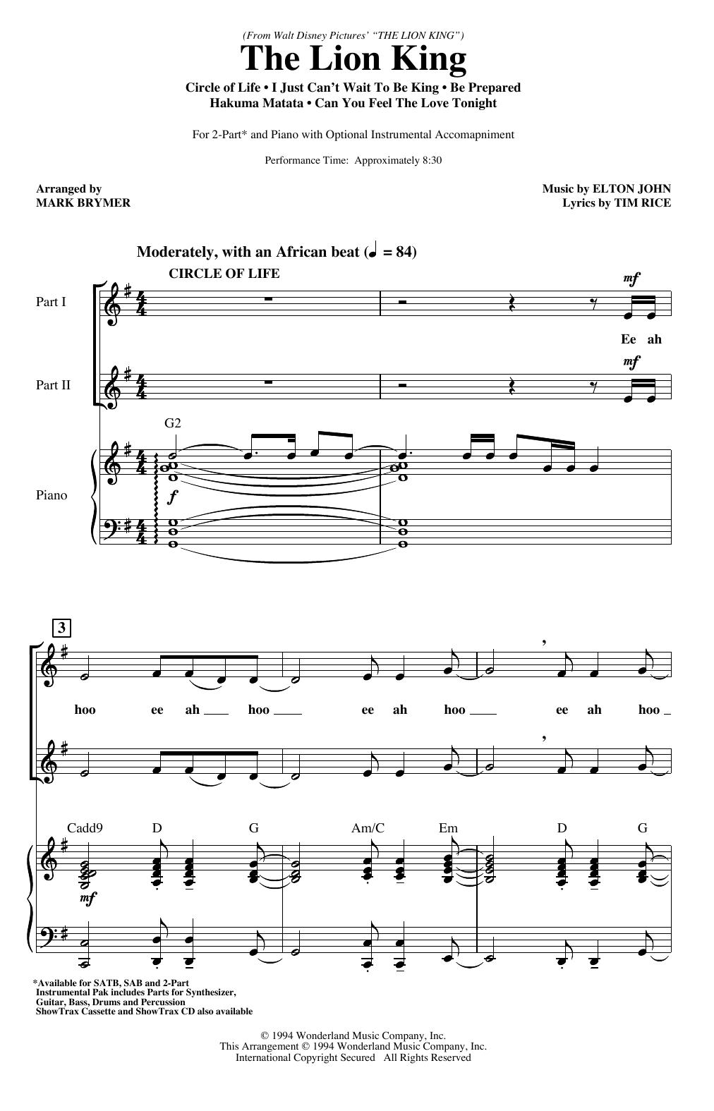 The Lion King (Medley) (arr. Mark Brymer) Sheet Music